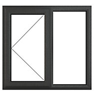 GoodHome Clear Double glazed Grey uPVC LH Window, (H)965mm (W)1190mm