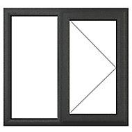 GoodHome Clear Double glazed Grey uPVC RH Window, (H)965mm (W)1190mm