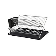 GoodHome Datil Chrome effect X-shaped Dish drainer rack, (W)460mm