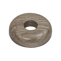 GoodHome DECOR 75 Wooden Grey Pipe collar (Dia)16mm, Pack of 2