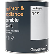 GoodHome Durable North pole (Brilliant white) Gloss Radiator & appliance paint, 750ml
