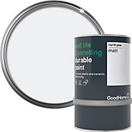 GoodHome Durable North pole (Brilliant white) Matt Wall tile & panelling paint, 750ml