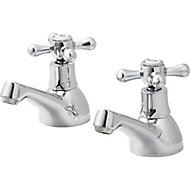 GoodHome Etel Chrome-plated Bath Pillar Tap, Pack of 2