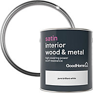 GoodHome Extra hardwearing Pure brilliant white Satin Metal & wood paint, 2.5L