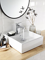 GoodHome Hendra Square Counter-mounted Counter top Basin