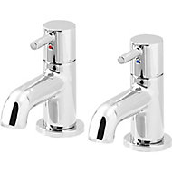 GoodHome Hoffell Chrome-plated Bath Pillar Tap, Pack of 2