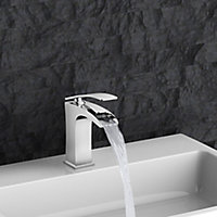 GoodHome Kellan 1 lever Chrome-plated Waterfall Basin Mono mixer Tap