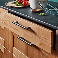GoodHome Khara Brushed Nickel effect Stainless steel & zinc alloy Bar Cabinet Handle (L)188mm, Pack of 2