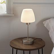 GoodHome Kluan Brushed White Nickel effect Table light