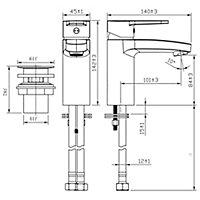 GoodHome Lecci 1 lever Chrome-plated Contemporary Basin Mono mixer Tap