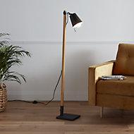 GoodHome Menonry Matt Black Wood effect Floor light