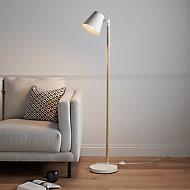 GoodHome Mulanje Matt White Wood effect Floor light