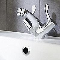 GoodHome Netley 2 lever Chrome-plated Contemporary Basin Mono mixer Tap