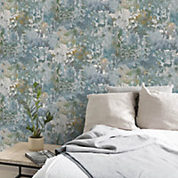 GoodHome Nivosa Teal Coloured concrete Plastered effect Embossed Wallpaper