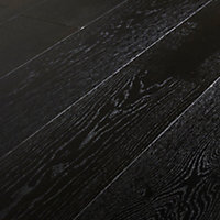 GoodHome Oppland Black Oak Real wood top layer flooring, 2.05m² Set