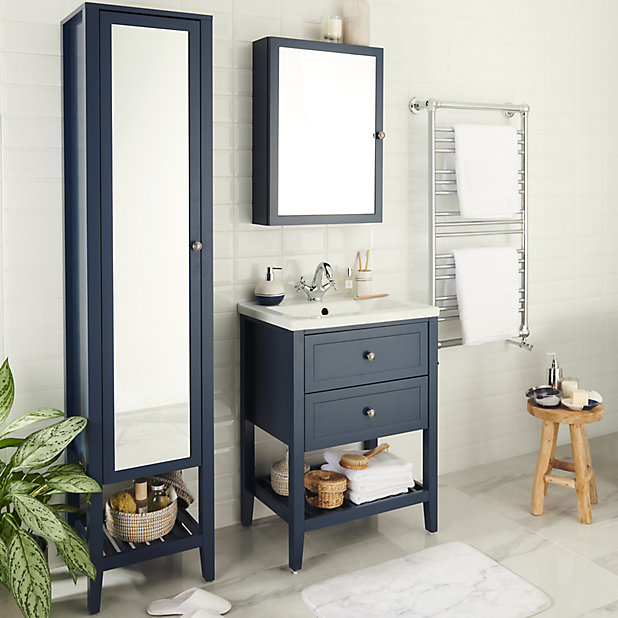 Goodhome Perma Satin Blue Tall, Mirrored Free Standing Bathroom Cabinet