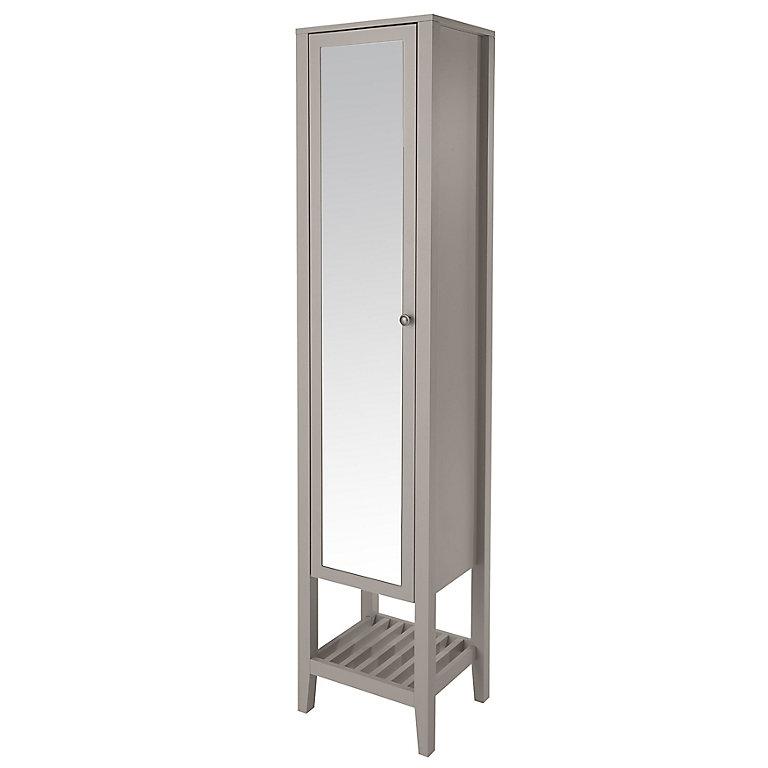 Goodhome Perma Satin Grey Tall, Tall Bathroom Cabinets Ikea