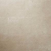 GoodHome Poprock Beige Tile Stone effect Self adhesive Vinyl tile, Pack of 7