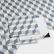 GoodHome Poprock Blue Geometric Mosaic effect Self adhesive Vinyl tile, Pack of 14