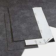 GoodHome Poprock Dark grey Tile Stone effect Self adhesive Vinyl tile, Pack of 7
