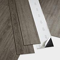 GoodHome Poprock Grey Wood planks Wood effect Self adhesive Vinyl plank, Pack of 7