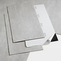 GoodHome Poprock Light grey Tile Stone effect Self adhesive Vinyl tile, Pack of 7
