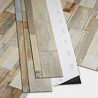 GoodHome Poprock Multi-blue Wood planks Wood effect Self adhesive Vinyl plank, Pack of 7