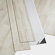 GoodHome Poprock Rustic white Wood planks Wood effect Self adhesive Vinyl plank, Pack of 8