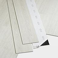 GoodHome Poprock White Wood planks Wood effect Self adhesive Vinyl plank, Pack of 7
