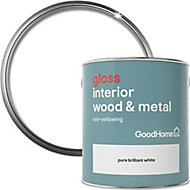 GoodHome Pure brilliant white Gloss Metal & wood paint, 2.5L