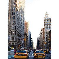 GoodHome Rubra Beige, grey & yellow New York street Matt Mural