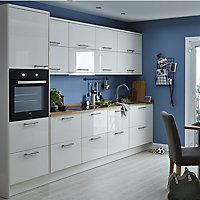 GoodHome Stevia Gloss cream slab Highline Cabinet door (W)500mm