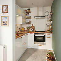 GoodHome Stevia Gloss white slab Highline Cabinet door (W)400mm