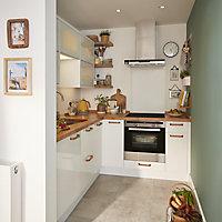 GoodHome Stevia Gloss white slab Highline Cabinet door (W)500mm