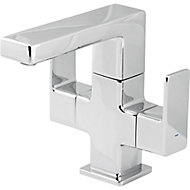 GoodHome Wydon 2 lever Chrome-plated Contemporary Basin Mono mixer Tap