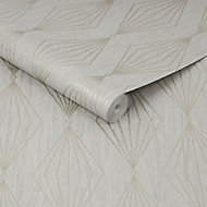 Graham & Brown Boutique Marquise Geometric Silver glitter effect Textured Wallpaper