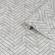 Graham & Brown Contour White Marble chevron Tile effect Textured Wallpaper