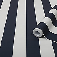 Graham & Brown Superfresco Easy Blue Striped Smooth Wallpaper