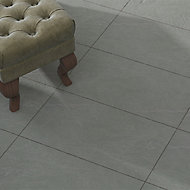 Grey Matt Slate effect Porcelain Outdoor Tile, Pack of 6, (L)600mm (W)300mm