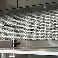 Grey Mosaic tile sheet, (L)305mm (W)305mm