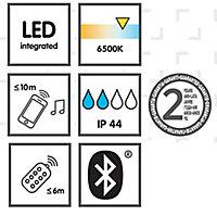 Grey & white Battery-powered RGB & cool white LED Outdoor Lantern speaker light