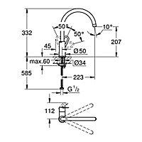 Grohe Start Loop Nickel effect Kitchen Monobloc Tap