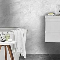 Haver Light grey Matt Travertine effect Ceramic Wall & floor tile, Pack of 6, (L)600mm (W)300mm