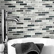 Helsinki Blue & grey Glass & stone Mosaic tile sheets, (L)306mm (W)324mm