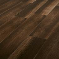 High gloss Brown & grey Gloss Wood effect Porcelain Wall & floor Tile Sample