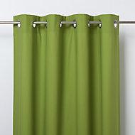 Hiva Green Plain Unlined Eyelet Curtain (W)117cm (L)137cm, Single