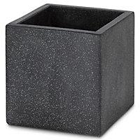 Hoa Dark grey Concrete effect Fibreclay Square Plant pot (Dia)30cm