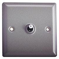 Holder 10A 2 way Matt grey pewter effect Single Toggle Switch