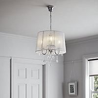 Hovland White Chrome effect 3 Lamp Pendant ceiling light