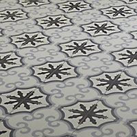 Hydrolic Black & white Matt Flower Porcelain Floor tile, Pack of 25, (L)200mm (W)200mm